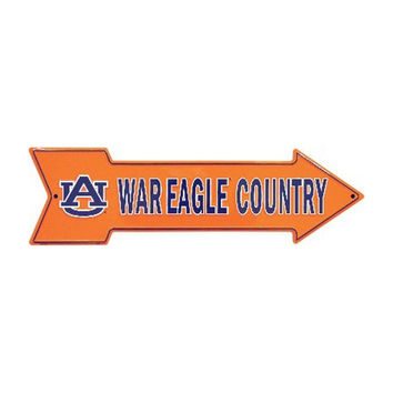 Smart Blonde NCAA University of Auburn AU Tigers War Eagle Country Embossed Vanity Metal Arrow Sign AS25035