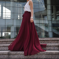High Waist Maxi Skirt Chiffon Silk Skirts Beautiful Bow Tie Elastic Waist Summer Skirt Floor Length Long Skirt (037), #126