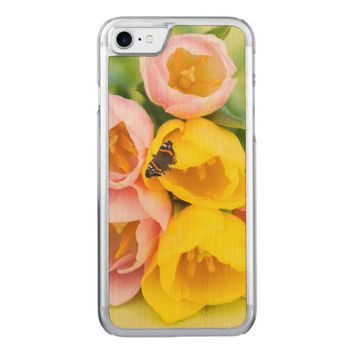 Pink and yellow tulips carved iPhone 7 case