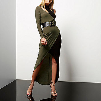 Khaki color block asymmetric maxi dress - maxi dresses - dresses - women