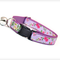"Cat Collar - ""Lila"" - Purple Lilac Floral Cottage Rose Pattern"