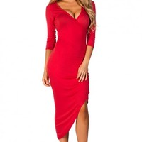 Fiona Cherry Red Long Sleeve Wrap Dress with Exposed Zipper