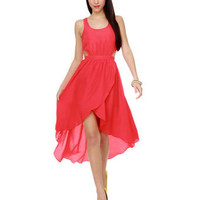 Cute Coral Red Dress - High Low Hem Dress - $45.00