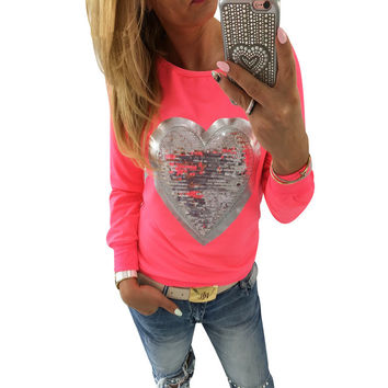 Long Sleeve Sequined Heart Shape Printed Blouse 2017 Spring Fashion Streetwear Tunic Shirt Jumper Tops Blusas Camisas Mujer 3XL