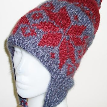 Hand Knit Hat Womens Hat Mens Hat Earflap Hat - The Ear flap Beanie Hat in Burgundy, Dark grey - READY TO SHIP - Hand Knitted Winter Fashion