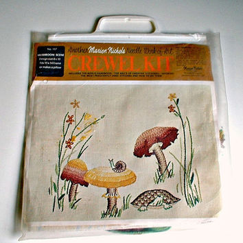 Mushroom Scene Crewel Kit No. 117  Marion Nichols  Embroidery Kit Wall Hanging or Pillow Kit  Vintage Woodland 1970's Decor Turtle Snail