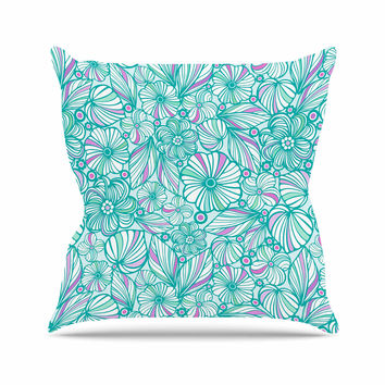 "Julia Grifol ""My Turquoise Flowers"" Teal Pink Throw Pillow"