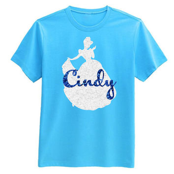 Princess Cinderella GLITTER colors Personalized T-shirt w/ Name - Birthday Party shirt, Disney trip Adult Child Baby Girl