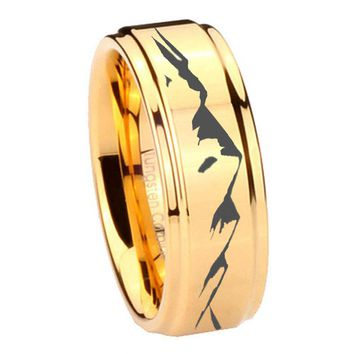 8MM Glossy Gold Step Edges Sound Wave I love you Tungsten Carbide Laser Engraved Ring