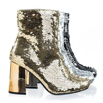 Abigale43 Gold by Forever Link, Block Heel Sequins Ankle Bootie, Women's Metallic Party Shoes