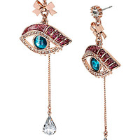 BetseyJohnson.com - MYSTERIOUS EYE LINEAR EARRING MULTI