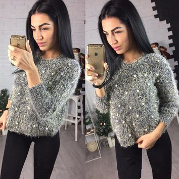 Long Sleeve Knit Tops Pullover Sea Sweater [11275919943]