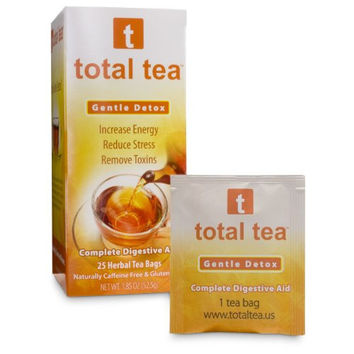 TOTAL TEA GENTLE DETOX TEA: 25 TEABAGS SEALED | MAY HELP BLOATING AND CONSTIPATION | SLIMMING COLON CLEANSE SUPPORT | NATURAL APPETITE SUPPRESSANT | CAFFEINE FREE | DOCTOR RECOMMENDED MOMMY APPROVED