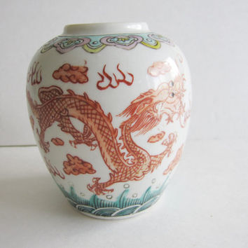 Antique Vintage Wucai Vase 1940's Asian Oriental Dragons Dynasty Red Ceramic Glazed