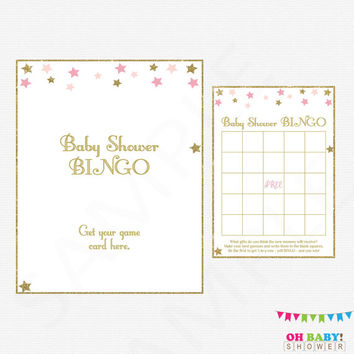 Twinkle Twinkle Little Star Baby Shower BINGO, Pink Gold Baby Shower Games, Baby Bingo Game, Pink and Gold Baby Shower, Printable Bingo STPG