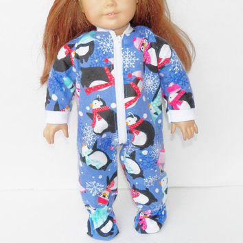 18 Inch Girl Doll Clothes | Purple pink penguin print Flannel PAJAMAS sleeper pjs for Dolls such as / AG- Handmade by adorabledolldesigns