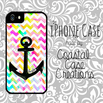 Hope Anchor and Colorful Chevron Quote Apple iPhone 4 4G 4S 5G Hard Plastic Cell Phone Case Cover Original Trendy Stylish Design