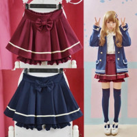 Cute kawaii navy pleated skirt