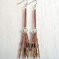 Beaded Spiral Copper Fringe Earrings Rippled by VenganzyJewelry