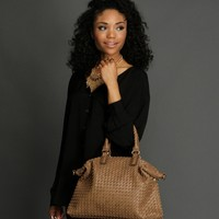 Sale-brown Woven Basic Handbag