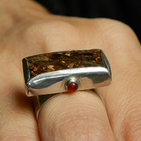 Earth Spirit large silver ring with fine rectangular bronzite cabochon and tiny red agates