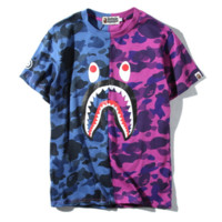 BAPE SHARK  Fashion camouflage splicing shark print casual tee tops