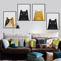 Adorable Cat Faces Paintings on Canvas