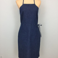 Denim Halter Dress Open Back Backless Dress Denim Sleeveless Dress Dark Wash Denim Casual Dress American Eagle Size 10 Medium Women Clothing
