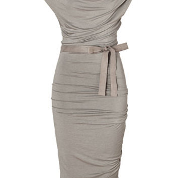 Donna Karan - Hemp Draped Jersey Dress with Belt