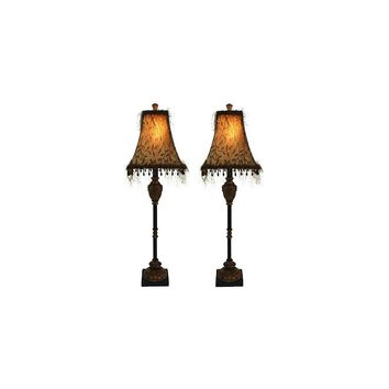 Aspire Emelia Buffet 33'' H Table Lamp with Bell Shade (Set of 2)