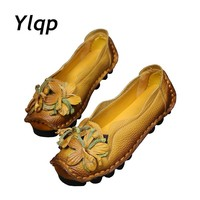 Autumn Flowers Handmade Shoes Women's Floral Soft Flat Bottom Shoes Casual Sandals Folk Style Women Genuine Leather Shoes