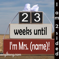 """Personalized Wedding countdown blocks. Wedding Shower gift. -""""weeks until I'm Mrs."""" Gift for the Bride, engagement gift. Red, Black, White"""