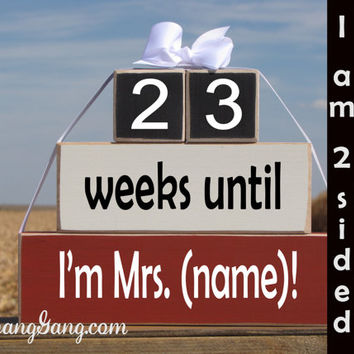 "Personalized Wedding countdown blocks. Wedding Shower gift. -""weeks until I'm Mrs."" Gift for the Bride, engagement gift. Red, Black, White"