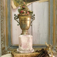 Vintage 50s Trophy cup weathered pink vase Shabby chic trophy cup award distressed verdigris trophy cup