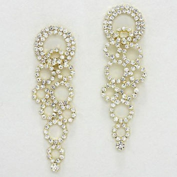 Large Blingy Chandelier Bridal Wedding Crystal Earrings and W Gold Tone