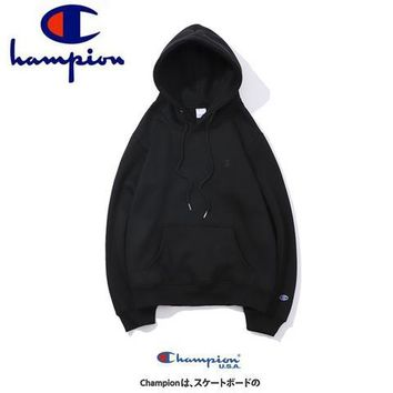 Champion 2018 autumn new tide brand classic embroidery logo plus velvet hoodie sweater black