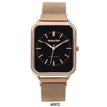 Montres Carlo Rose Gold Stainless Steel Mesh Band Watch with Magnetic Strap and Black Dial