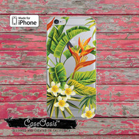 Green Tropical Leaves Flowers Pattern Clear Phone Case For iPhone 6, iPhone 6 Plus +, iPhone 6s, iPhone 6s Plus +, iPhone 5/5s, iPhone 5c