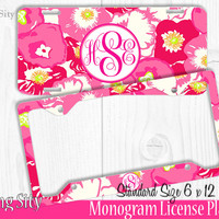 Pink Begonais Monogram License Plate Frame Holder Metal Wall Sign Tags Personalized Custom Vanity Country Girl