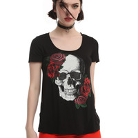 Roses Glitter Skull Fishnet Back Girls Top
