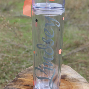 One Tall Skinny Personalized Name Tumbler - Super Cute - Choose Fonts and Colors - Great Gift - Completely Customized