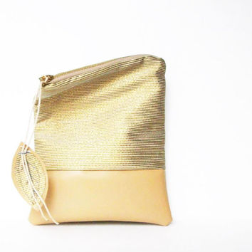 GOLD AND SAND / fold over clutch / zipper pouch/ clutch/ wristlet / ipad cover