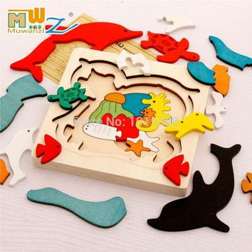 ICIKJG2 Free shipping kids/children educational wooden toys multilayer cartoon 3D animal puzzle baby gift one piece