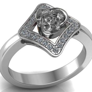 Square Ring with White gold Flower Lovers Ring Avant Garde Engag a673acda0
