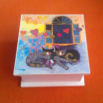 Jewelry box - Wooden tea box -  Kittens - Decoupage box - Decorative Multifunctional Box - Jewellery storage