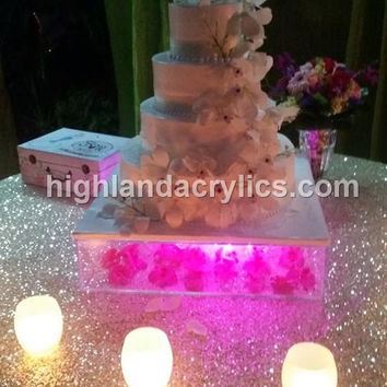 Clear Acrylic Cake Stand Box, Removable Lids, Lucite,  Custom  Hand Made  BUILD YOUR OWN!