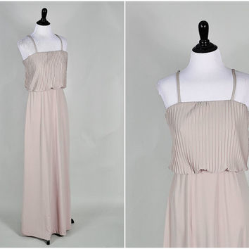 taupe neutral ultra draped jersey knit pleated bust strappy grecian goddess maxi dress vintage 1970s