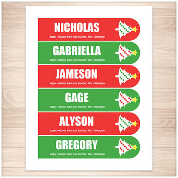 Printable Personalized Christmas Bookmarks - Holiday Tree Red Green - Teacher Student - Editable PDF Printable Bookmarks - Instant Download