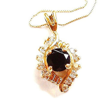 Vintage Black Onyx Necklace Cubic Zirconia 14K Gold Pendant and Italy Chain
