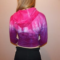 Hot PInk and Purple Hand-Dyed Ombre Jacket - Women's Workout Clothing - Size Medium